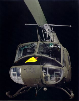 """A restored Bell UH-1H """"Huey"""" helicopter that flew over Vietnam in the 1960s."""