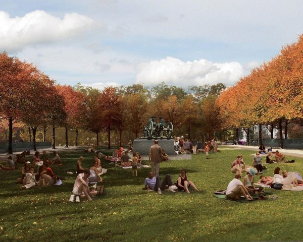 Along with offering monuments, the park is designed to provide green space.