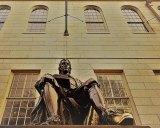 Statue of John Harvard at Harvard University.