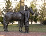 This statue of President Abraham Lincoln and his horse by sculptor Ivan Schwartz stands before the cottage where the Lincoln family could frequently be found, 140 Rock Creek Church Road, NW, Washington, D.C.