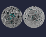 Water ice on the moon's south pole (left) and north pole (right) as detected by a NASA instrument. Image: NASA.