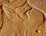 The central portion of the Osuga Valles on Mars.