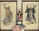 In this illustration of the 1904 election (Theodore Roosevelt v. Alton B. Parker), Puck stands on a ballot box.