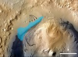 Possible extent of an ancient lake inside Gale Crater. -- NASA illustration.