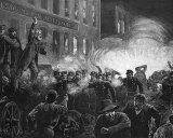 This engraving depicting the Haymarket riot by Thure de Thulstrup appeared in Harpers Weekly.