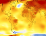 This NASA map shows Earth's average temperatures, 2013- 2017.