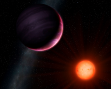 An artist's concept of a gas giant in orbit around a small star.