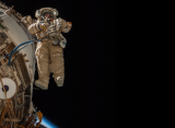 Russian cosmonaut Sergey Ryazanskiy, Expedition 38 flight engineer, participates in a spacewalk in support of assembly and maintenance on the International Space Station.