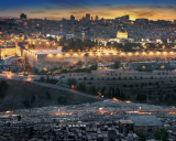 The old city, and beyond, modern Jerusalem.