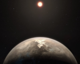 Artist's concept of the exoplanet Ross 128b and its star.