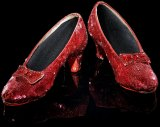 The ruby slippers worn by Dorothy (Judy Garland) in the 1939 movie, The Wizard of Oz.