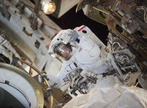 Flight Engineer Doug Wheelock worked outside the International Space Station in August 2010 to install a spare pump module. --NASA Image