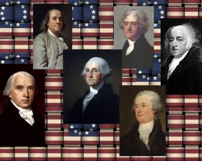 Founders include (clockwise, from left), Benjamin Franklin, Thomas Jefferson, John Adams, Alexander Hamilton, George Washington and James Madison.