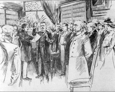 After the assassination of William McKinley, Theodore Roosevelt was sworn into office in 1901 in Buffalo, New York. At 42, he became the youngest president in the nation's history. Image: The Nashville, Tennessee, News, 1901.
