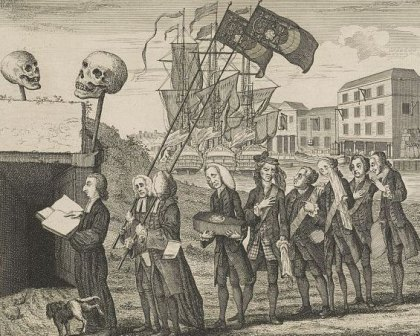 An 18th century cartoon shows a funeral for the Stamp Act.