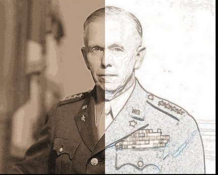 Illustration from a photo taken of George C. Marshall about 1944.
