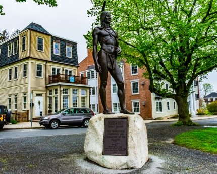 Massasoit is remembered with this Plymouth, Mass., memorial.