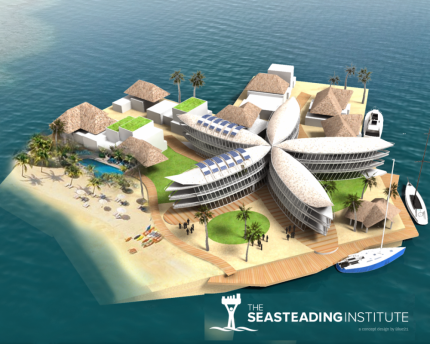 The Seasteading Institute's concept of a floating city.