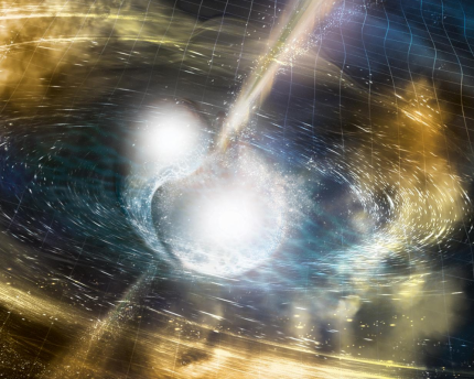 This artist's concept depicts the two stars colliding.