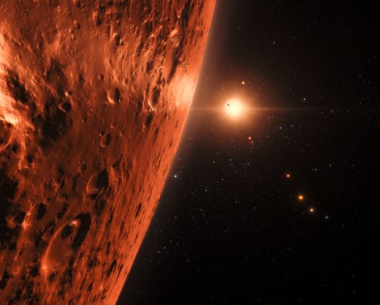 An artist's concept of the view from one of the TRAPPIST-1 planets.