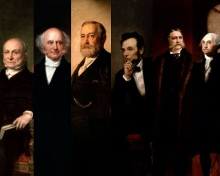 Presidents (from left) John Q. Adams, Martin Van Buren, Benjamin Harrison, Abraham Lincoln, Chester Arthur and George Washington.