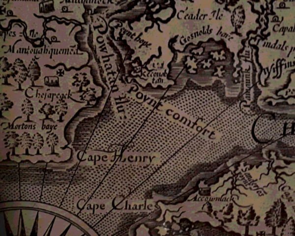 A historic map shows Point Comfort on the Virginia shore.