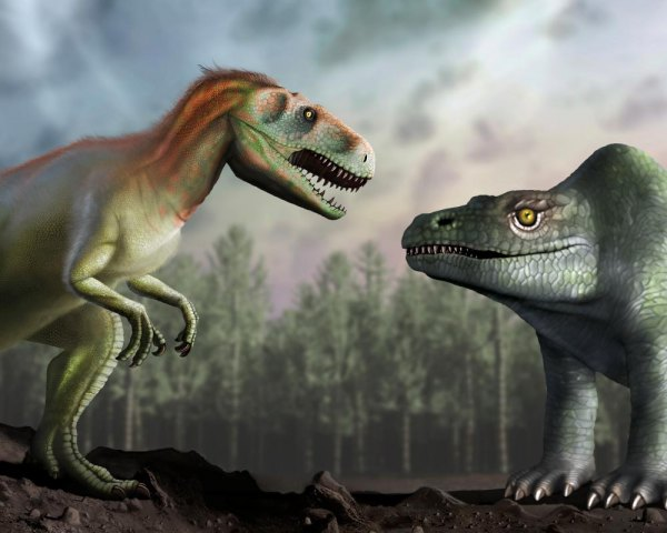 How Victorian scientists thought the megalosaurus looked (right), and how scientists today understand the creature's appearance (left).