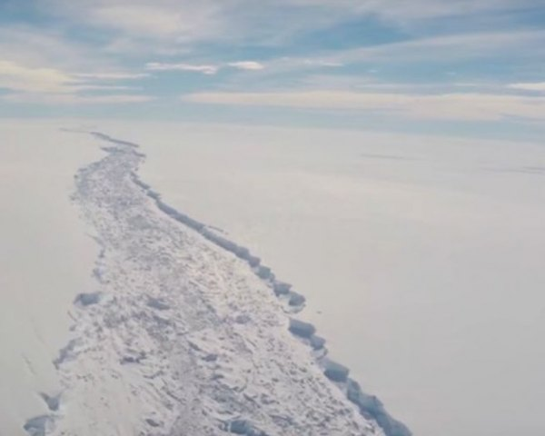 This image, from the British Antarctic Survey, shows the first rift.